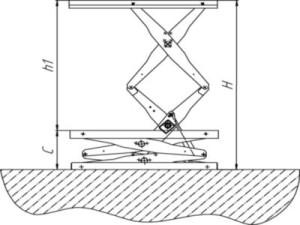 Подъемный стол на полу